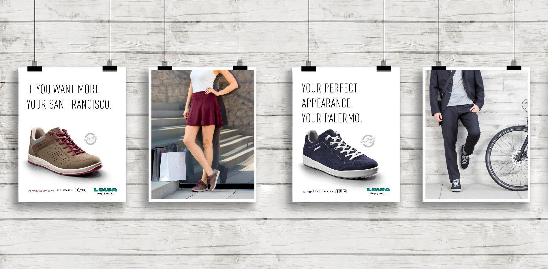 LOWA Travel Kampagne Anzeigen Kollage