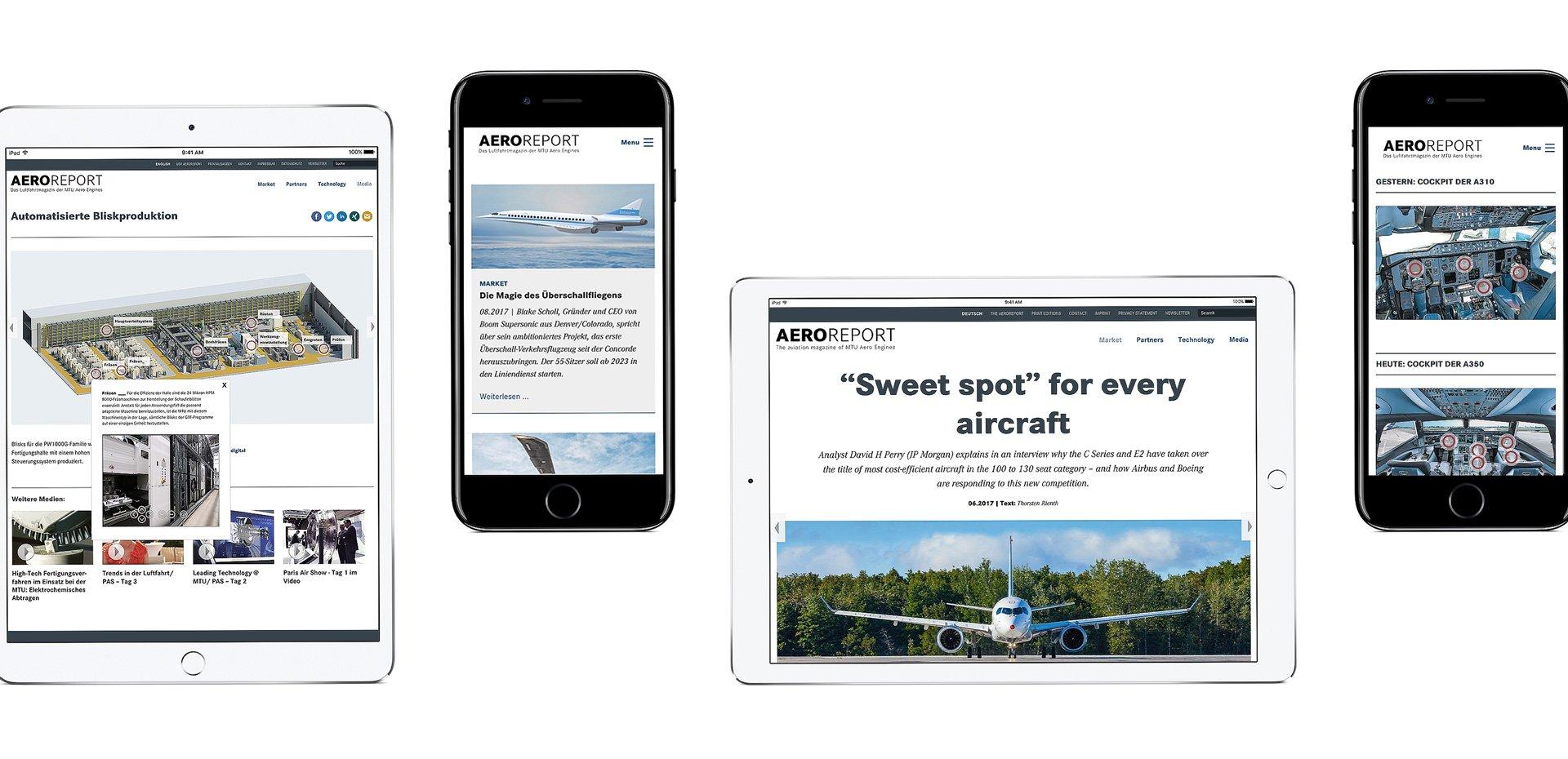 MTU Aeroreport Responsive Webseite Kollage